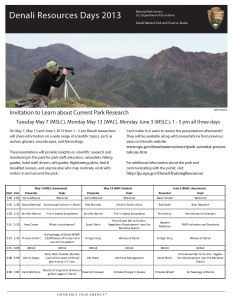 Denali National Park Resource Days Announced