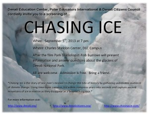 "DCC, DEC and Polar Educators Int'l to screen ""Chasing Ice"" at DEC."