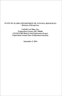 Read State's Healy Creek Plan of Operations Approval